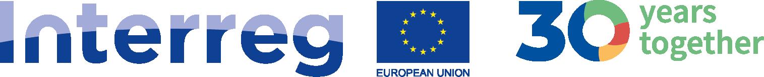 Logo 30 lat Interreg, w centralnym miejscu grafiki znajduje się flaga Unii Europejskiej