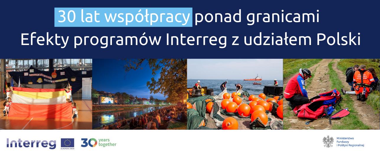 Grafika ze zdjęciami projektów i napisami: 30 lat współpracy ponad granicami. Efekty programów Interreg z udziałem Polski.